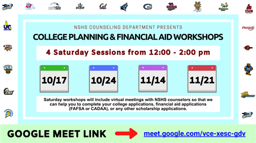 Saturday College Planning & Financial Aid Workshops Fall 2020