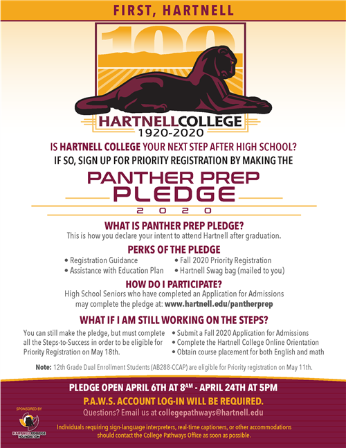 Hartnell Panther Pledge